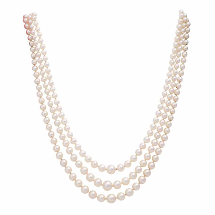 Akoya pearl necklace 3 rows - photo 1