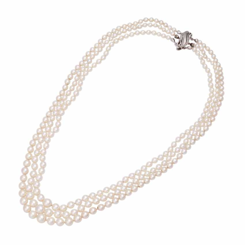 Akoya pearl necklace 3 rows - photo 3