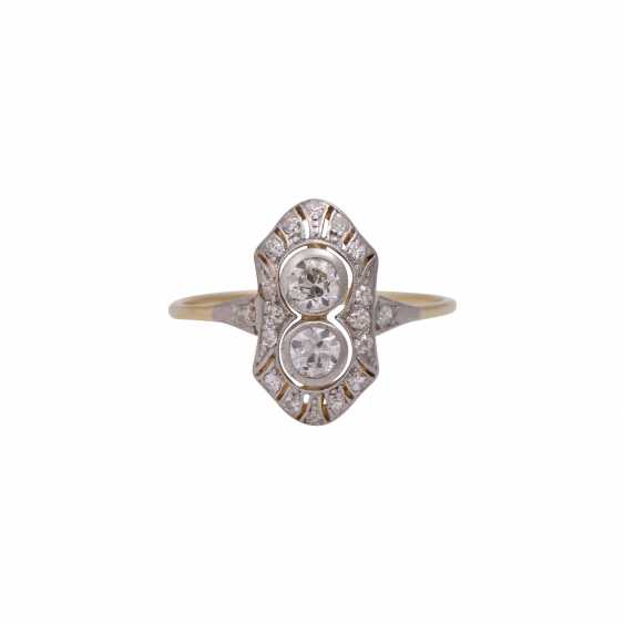 Art Deco Ring with 2 old European cut diamonds, together approx 0,44 ct, - photo 1