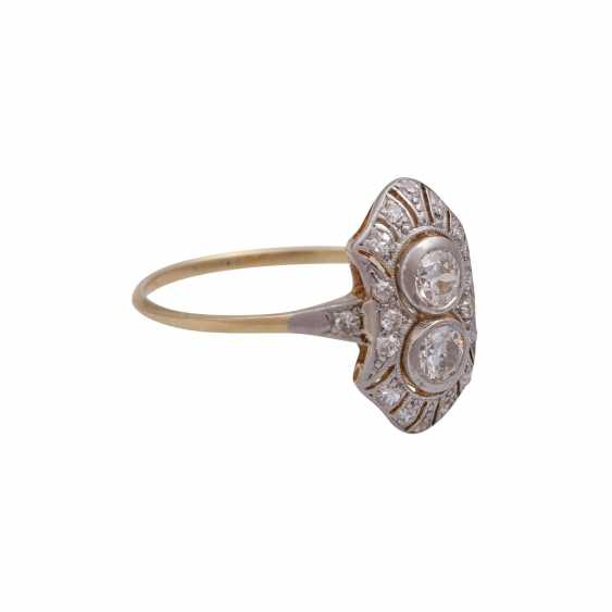 Art Deco Ring with 2 old European cut diamonds, together approx 0,44 ct, - photo 2