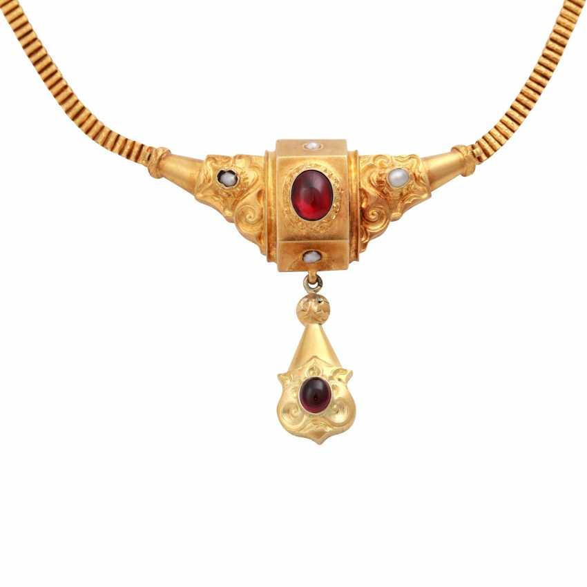 Ancient medallion pendant heart necklace Biedermeier vintage jewelry necklace