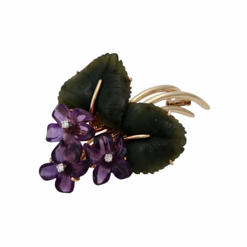Flower brooch with nephrite jade and amethysts, - photo 2