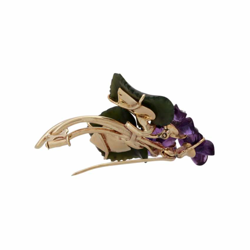 Flower brooch with nephrite jade and amethysts, - photo 3
