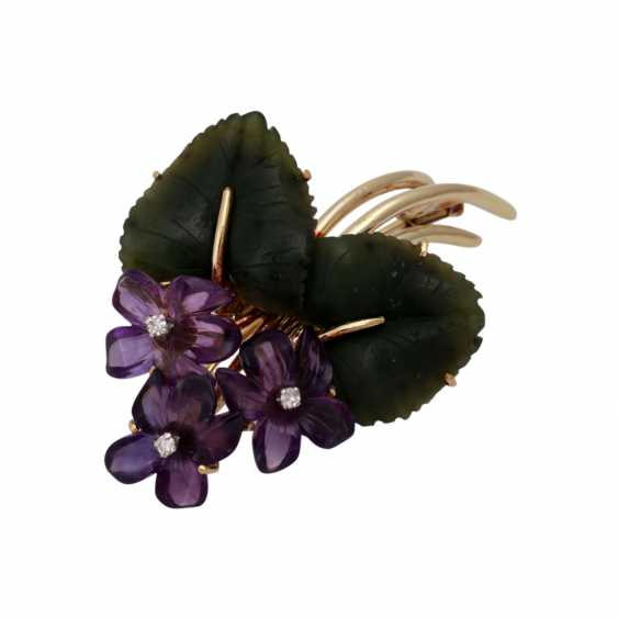 Flower brooch with nephrite jade and amethysts, - photo 4
