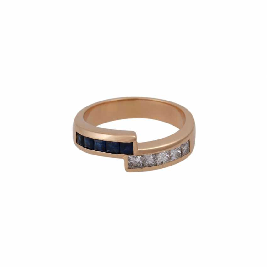 Ring with sapphires and diamonds together approx 0,52 ct, - photo 1