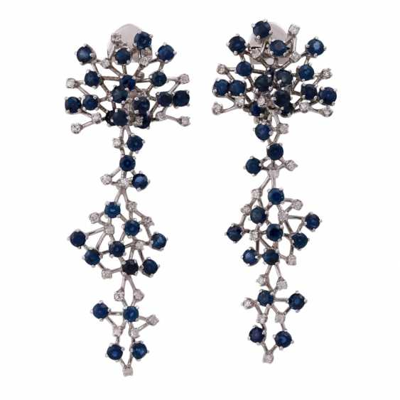 Ear clip hanger set with numerous sapphires and diamonds - photo 1