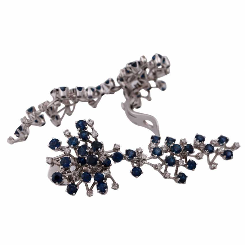 Ear clip hanger set with numerous sapphires and diamonds - photo 3