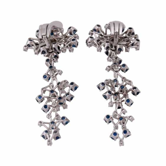 Ear clip hanger set with numerous sapphires and diamonds - photo 4