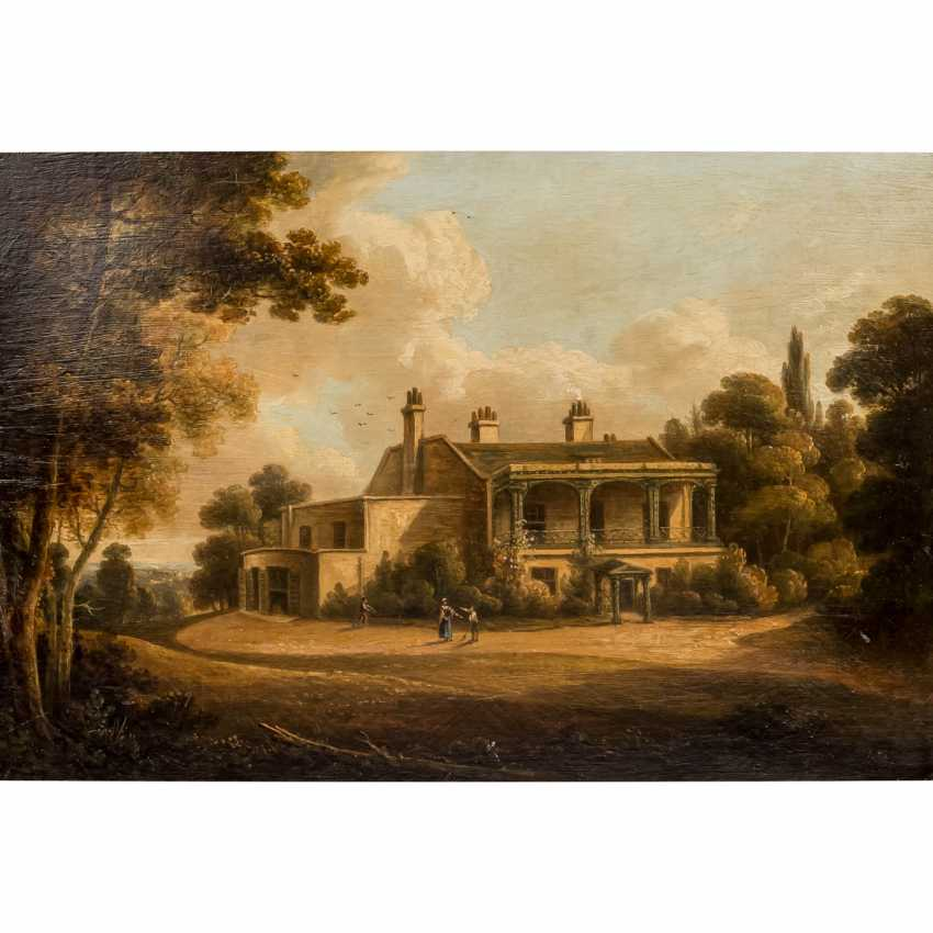 """PAINTER/IN 19. Century, """"Romantic landscape with Villa and people and Park"""", - photo 1"""