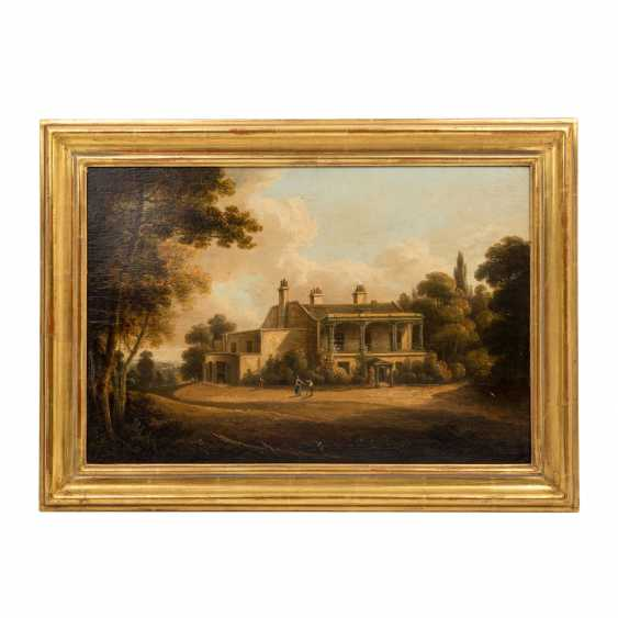 """PAINTER/IN 19. Century, """"Romantic landscape with Villa and people and Park"""", - photo 2"""