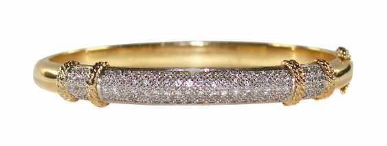 Bangle bracelet 14k yellow gold brilliant. - photo 1