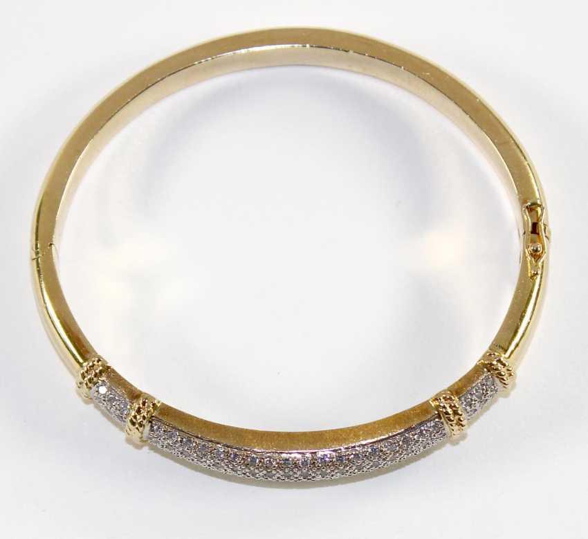 Bangle bracelet 14k yellow gold brilliant. - photo 2