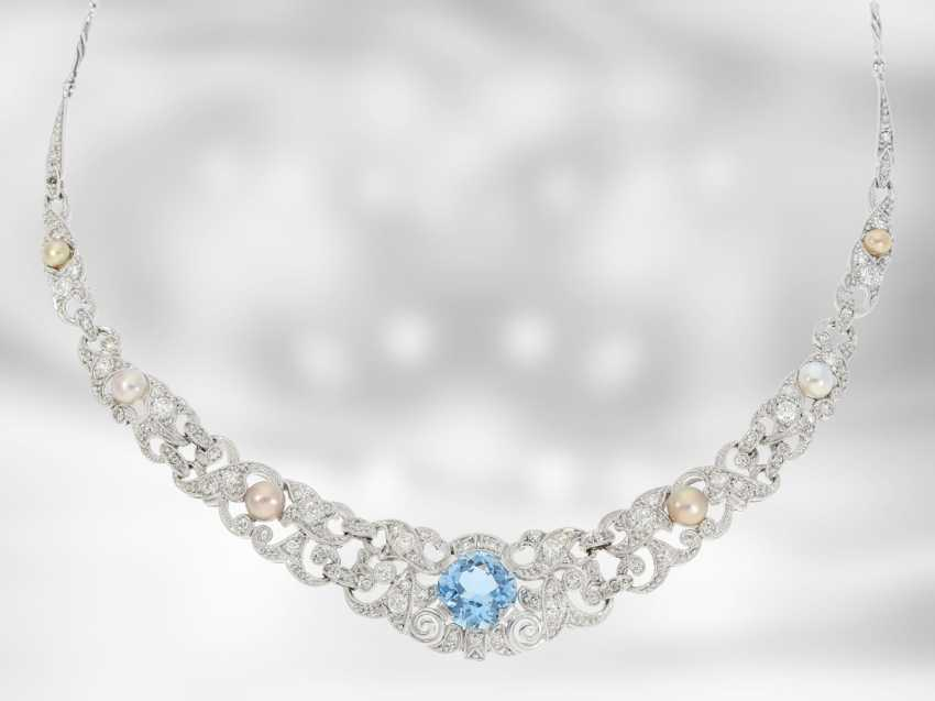Chain/necklace: extremely decorative vintage/antique aquamarine necklace with pearls and diamonds, for a total of approximately 2.9 ct, 18K Gold - photo 1