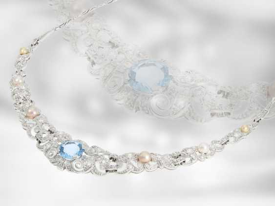 Chain/necklace: extremely decorative vintage/antique aquamarine necklace with pearls and diamonds, for a total of approximately 2.9 ct, 18K Gold - photo 2
