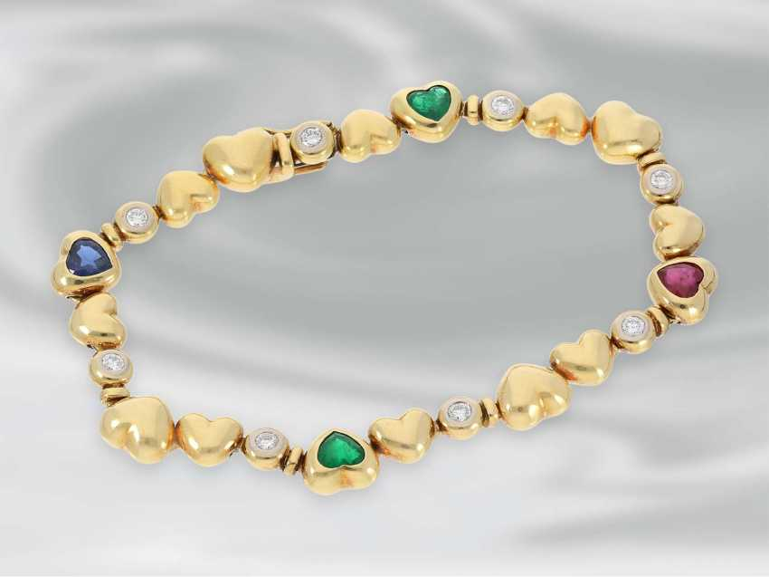 Bracelet: high-quality, modern heart of gold bracelet with emerald-, ruby-, sapphire - and diamond trimming, approx. 2,54 ct, 18K Gold, very expensive brand-name jewellery by Zappe - photo 1