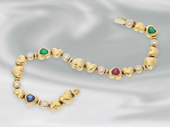 Bracelet: high-quality, modern heart of gold bracelet with emerald-, ruby-, sapphire - and diamond trimming, approx. 2,54 ct, 18K Gold, very expensive brand-name jewellery by Zappe - photo 2