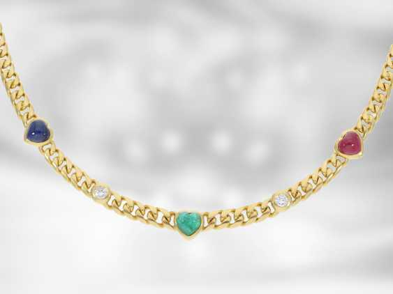 Chain/necklace: massive and heavy Golden vintage necklace with brilliant-cut diamonds and color stones in heart shape, vintage brand jewelry from Wempe 18K yellow Gold - photo 1