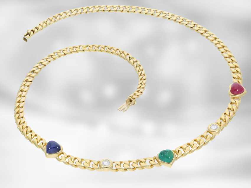 Chain/necklace: massive and heavy Golden vintage necklace with brilliant-cut diamonds and color stones in heart shape, vintage brand jewelry from Wempe 18K yellow Gold - photo 2
