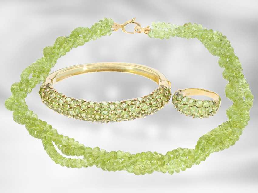 Chain/necklace/bracelet/Ring: very decorative vintage Peridot jewelry set, 18K and 14K Gold - photo 1