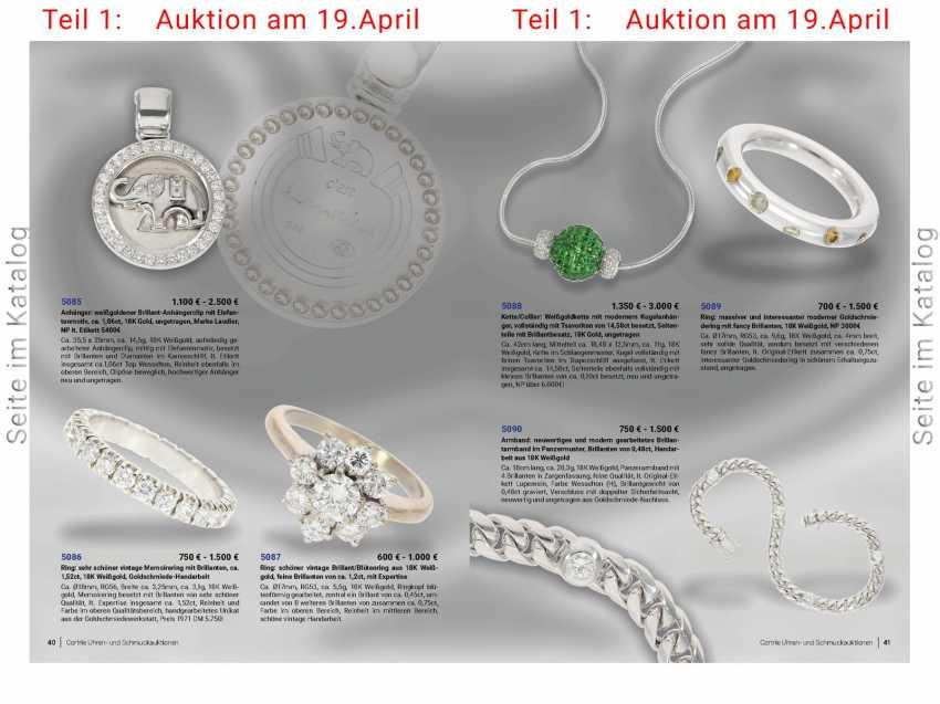 Pendant: white Golden diamond pendant clip with elephant motif, approx 1,06 ct, 18K white Gold, unworn, brand Laudier, NP lt. Label 5400€ - photo 4