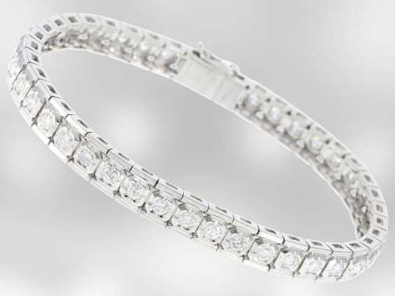 Bracelet: white gold vintage Revière bracelet with brilliant-cut diamonds, approx 2.5 ct, 18K Gold - photo 3