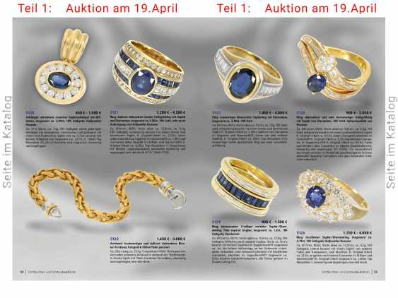 Ring: new classic sapphire ring with diamonds, total approx. 3,48 ct, 18K Gold - photo 5