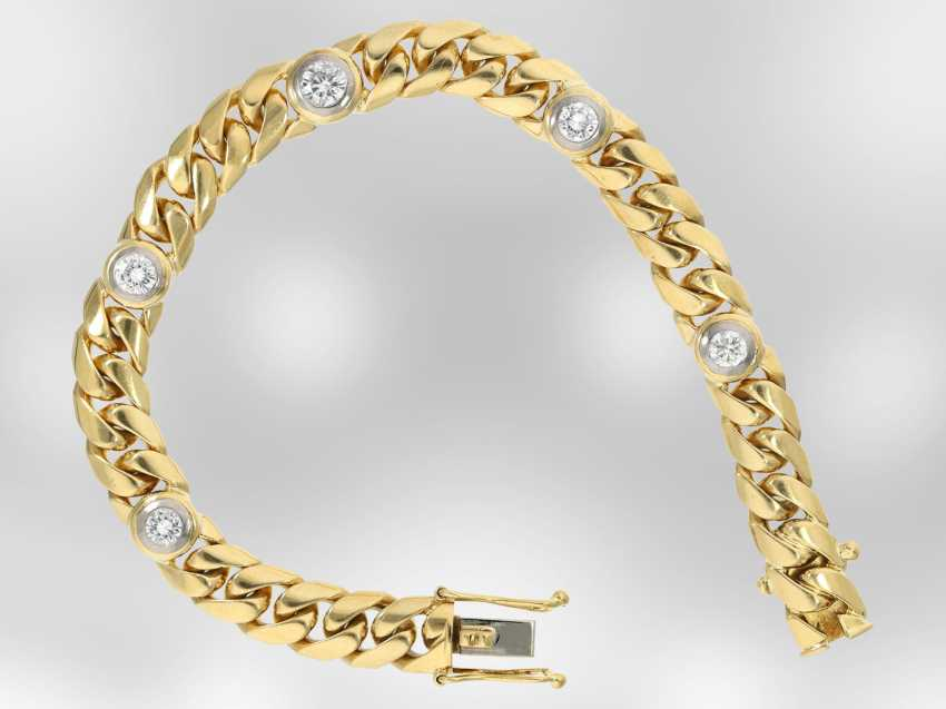 Bracelet: solid gold curb bracelet with brilliant-cut diamonds, approx. of 1.56 ct, 18K yellow gold, hand-work of the court jeweller and Roesner - photo 1