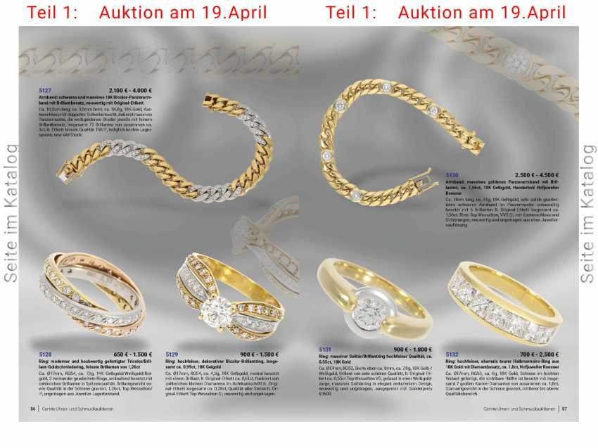 Bracelet: solid gold curb bracelet with brilliant-cut diamonds, approx. of 1.56 ct, 18K yellow gold, hand-work of the court jeweller and Roesner - photo 4