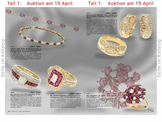 Bracelet: fine vintage ruby/diamond bracelet made of 18K Gold, a total of approximately 7.4 ct, goldsmith made the court jeweller and Roesner, original label over €14.200,- - photo 3