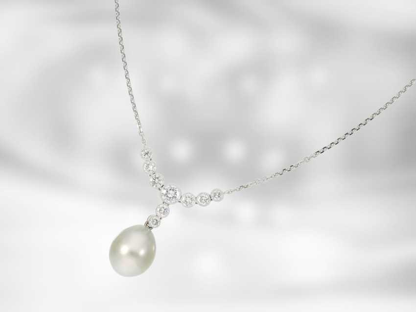 Chain/necklace: very fine Tahitian cultured pearls necklace with brilliant-cut diamonds, approx 1ct, 18K white gold, Italian Design - photo 1