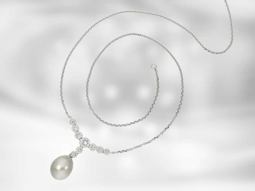 Chain/necklace: very fine Tahitian cultured pearls necklace with brilliant-cut diamonds, approx 1ct, 18K white gold, Italian Design - photo 2