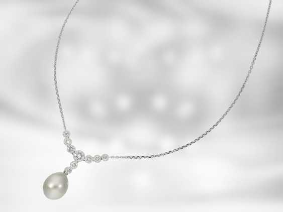 Chain/necklace: very fine Tahitian cultured pearls necklace with brilliant-cut diamonds, approx 1ct, 18K white gold, Italian Design - photo 3