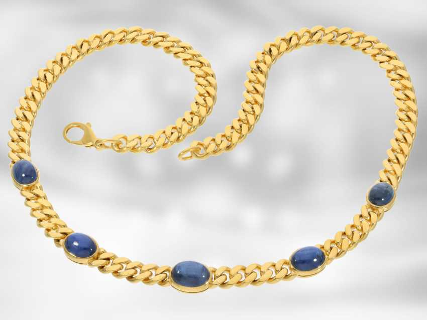 Chain/necklace: attractive massive tank necklace with fine sapphire cabochons, total approx. 18,05 ct, 14K yellow gold, the court jeweller Roesner - photo 3