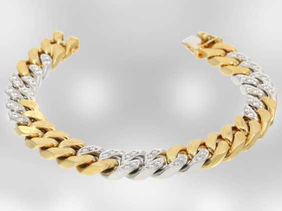 Bracelet: excellent heavy bicolor chain bracelet with brilliant-cut diamonds, approx. 1,85 ct, 18K Yellow/white gold - photo 1