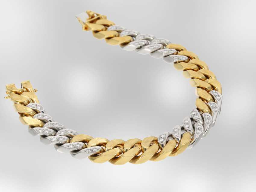 Bracelet: excellent heavy bicolor chain bracelet with brilliant-cut diamonds, approx. 1,85 ct, 18K Yellow/white gold - photo 2
