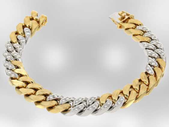 Bracelet: excellent heavy bicolor chain bracelet with brilliant-cut diamonds, approx. 1,85 ct, 18K Yellow/white gold - photo 3