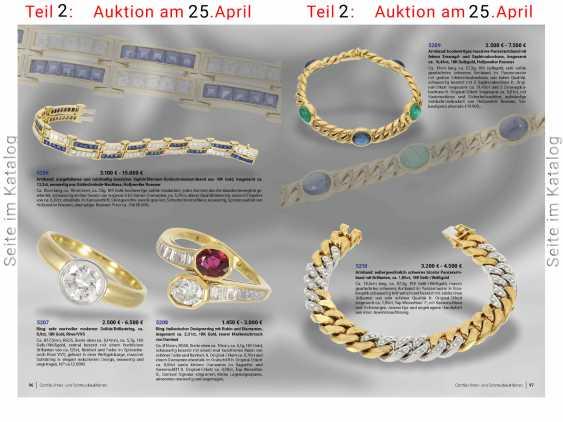 Bracelet: excellent heavy bicolor chain bracelet with brilliant-cut diamonds, approx. 1,85 ct, 18K Yellow/white gold - photo 5