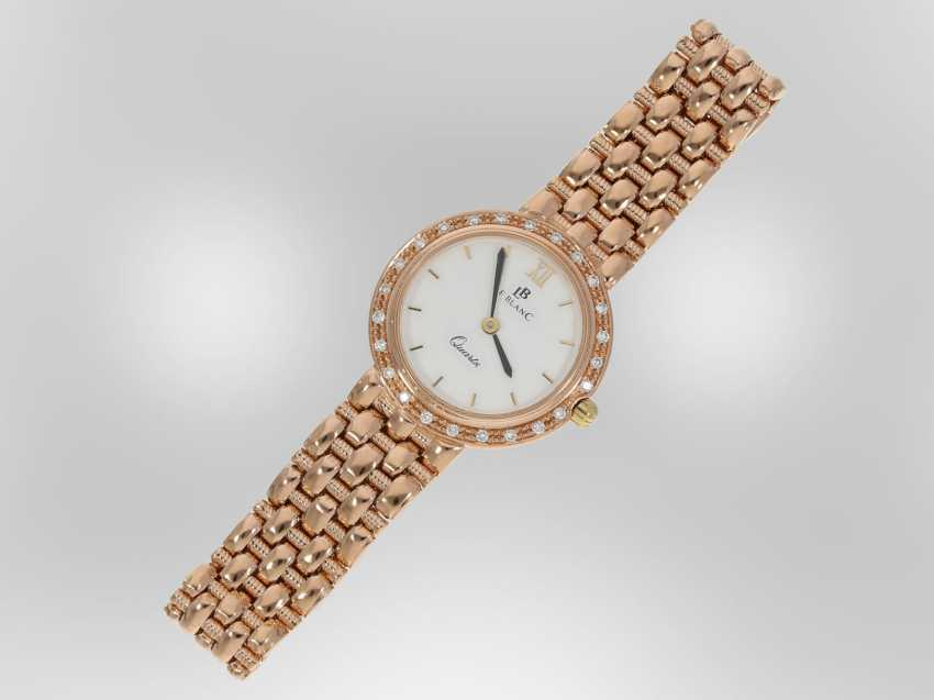 Wrist watch: high quality red gold jewelry-watch with diamond trimming, a total of approximately 0.24 ct, 14K Gold - photo 2