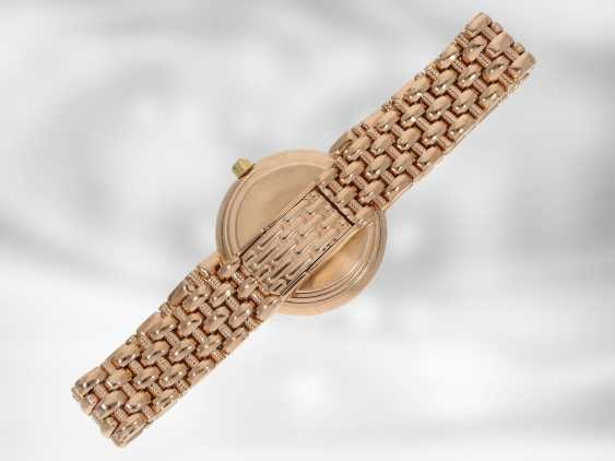 Wrist watch: high quality red gold jewelry-watch with diamond trimming, a total of approximately 0.24 ct, 14K Gold - photo 3