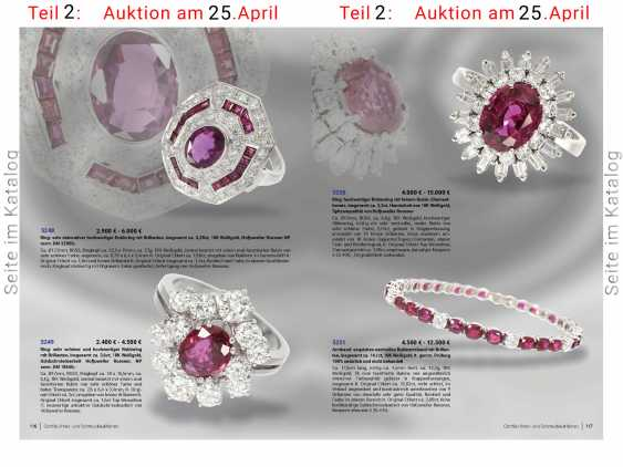 Ring: high quality flower ring with a fine ruby/diamond trim, total of approx. 3,5 ct., crafted from 18K white gold, top quality of the court jeweller and Roesner - photo 5