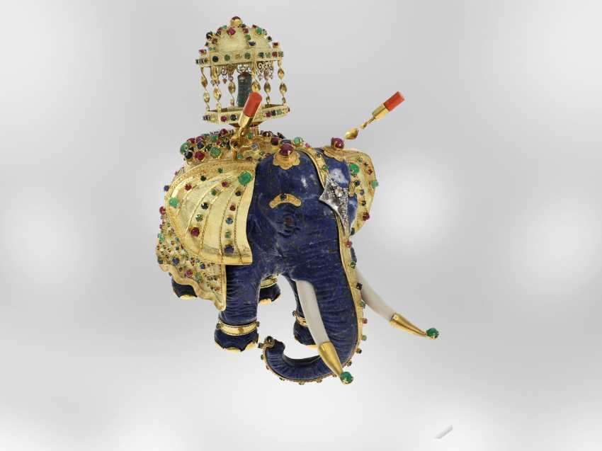 Jewel/art object: important antique art, elephant with extremely valuable Precious stones, one of a kind, former Maharadja-owned, India 1. Half of the 20. Century., Probate Court Jeweller Roesner - photo 2