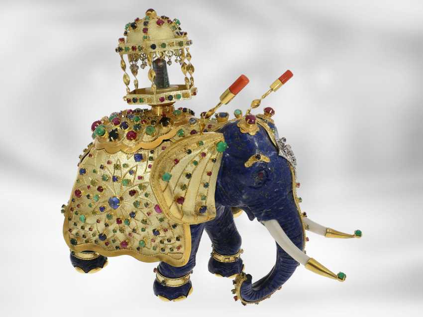 Jewel/art object: important antique art, elephant with extremely valuable Precious stones, one of a kind, former Maharadja-owned, India 1. Half of the 20. Century., Probate Court Jeweller Roesner - photo 3