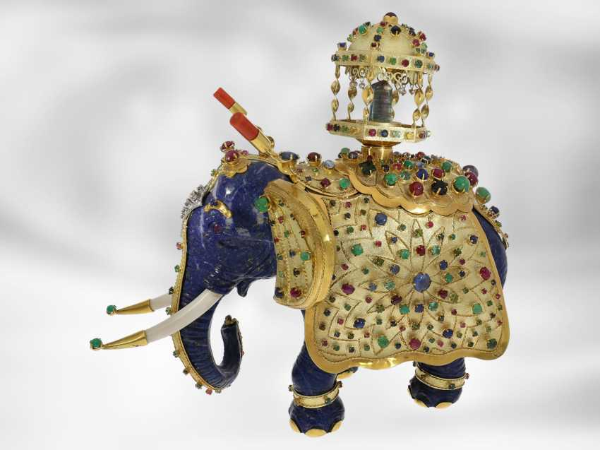 Jewel/art object: important antique art, elephant with extremely valuable Precious stones, one of a kind, former Maharadja-owned, India 1. Half of the 20. Century., Probate Court Jeweller Roesner - photo 4