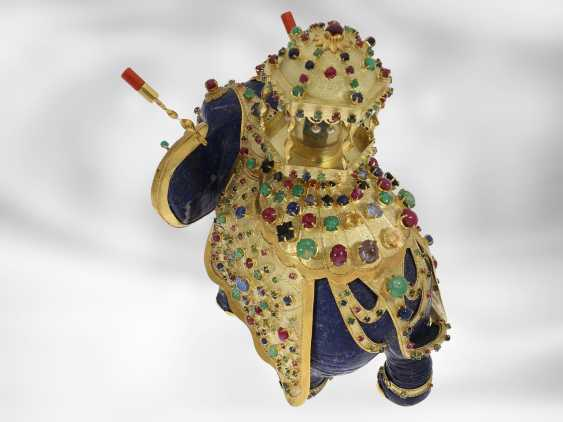 Jewel/art object: important antique art, elephant with extremely valuable Precious stones, one of a kind, former Maharadja-owned, India 1. Half of the 20. Century., Probate Court Jeweller Roesner - photo 5