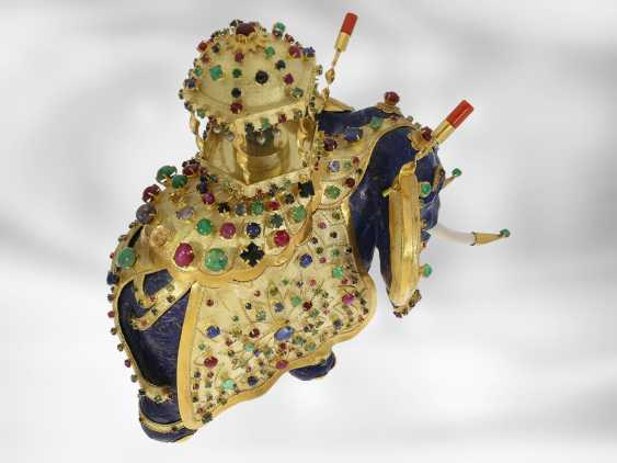Jewel/art object: important antique art, elephant with extremely valuable Precious stones, one of a kind, former Maharadja-owned, India 1. Half of the 20. Century., Probate Court Jeweller Roesner - photo 6