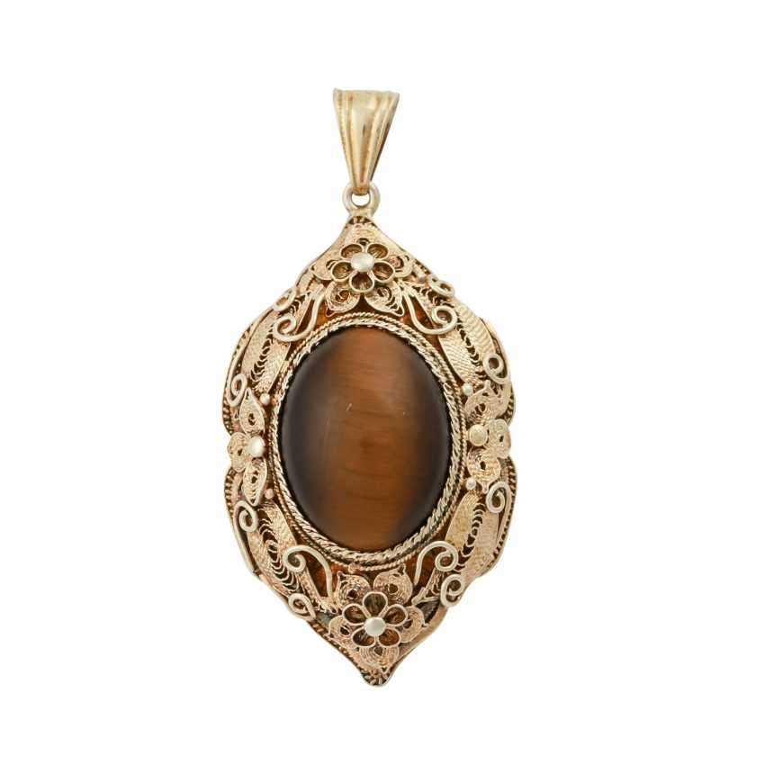 Set 4 pieces with oval tiger eye Cabochons, - photo 4