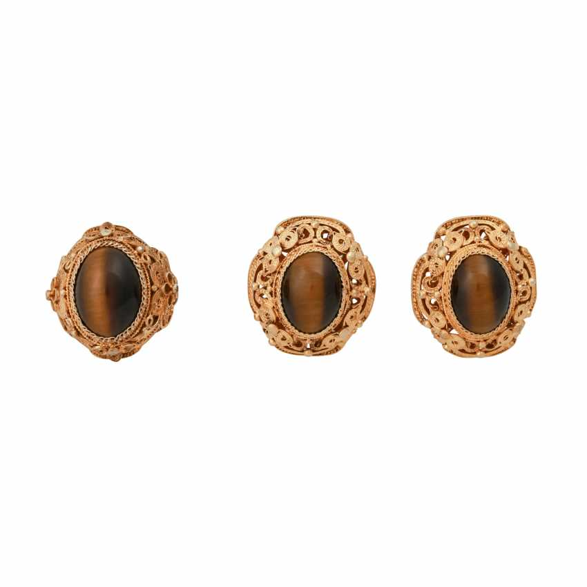 Set 4 pieces with oval tiger eye Cabochons, - photo 6