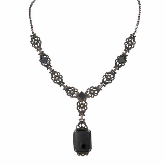 Art Deco Collier mit Onyx und Markasit, - photo 1
