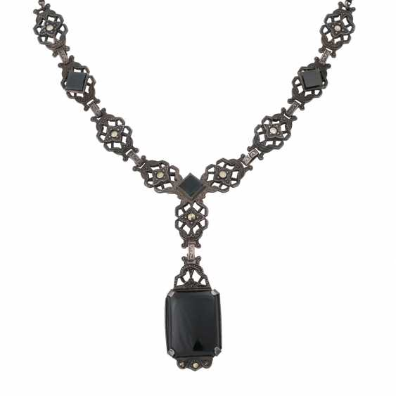 Art Deco Collier mit Onyx und Markasit, - photo 2