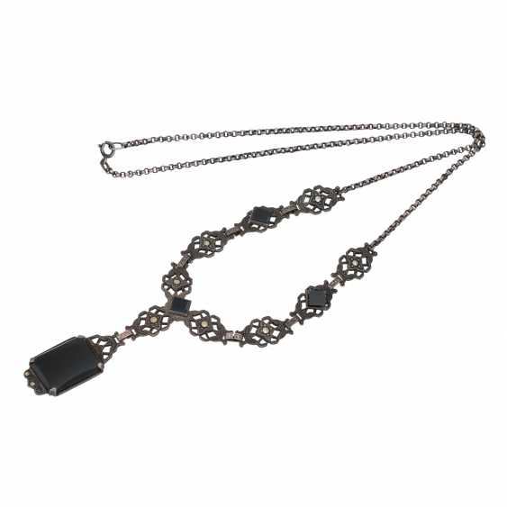 Art Deco Collier mit Onyx und Markasit, - photo 3